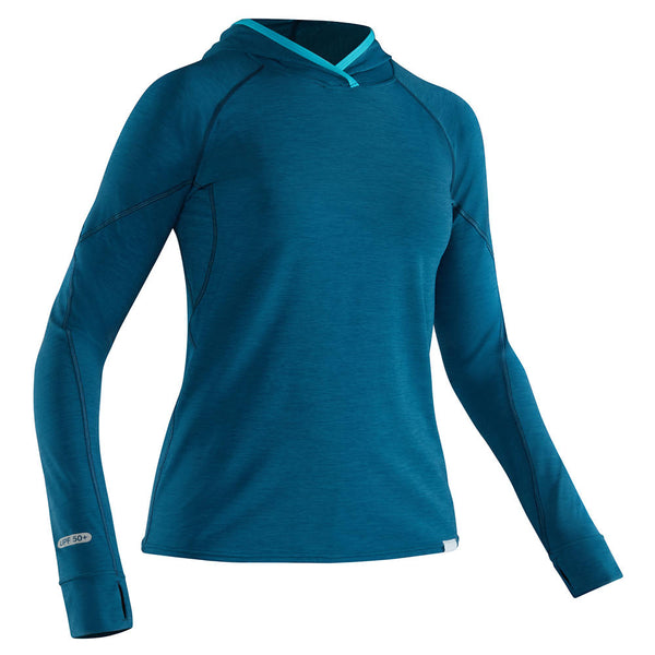 NRS Women's H2Core Silkweight Hoodie Moroccan Blue / Small Tops NRS - Hook 1 Outfitters/Kayak Fishing Gear