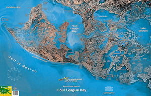 STANDARD LAMINATED MAP FOUR LEAGUE BAY  Fishing Accessories Standard Map - Hook 1 Outfitters/Kayak Fishing Gear