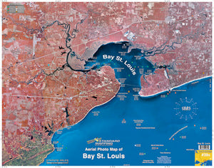 STANDARD LAMINATED MAP BAY ST. LOUIS  Fishing Accessories Standard Map - Hook 1 Outfitters/Kayak Fishing Gear