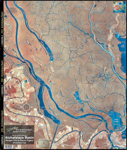 STANDARD LAMINATED MAP ATCHAFALAYA/MORGAN CITY  Fishing Accessories Standard Map - Hook 1 Outfitters/Kayak Fishing Gear
