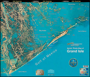 STANDARD LAMINATED MAP GRAND ISLE/FOURCHON TO 4 BAYOU  Fishing Accessories Standard Map - Hook 1 Outfitters/Kayak Fishing Gear