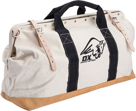 24 Inch Canvas Mason Tool Bag | Nylon Strap Handles & Suede Leather Bottom - OX Tools