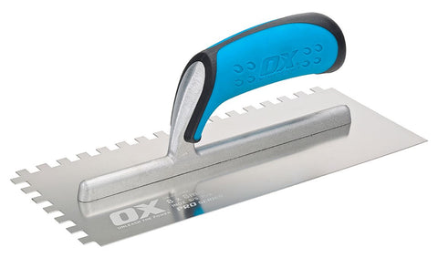 Pro 11-Inch x 4-3/4-Inch Stainless Steel Notch Trowel | 1/4 x 1/4 x 1/4 Square Notch - OX Tools