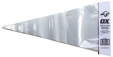 Disposable Plastic Grout Bag/Liners - 25 Pack - OX Tools