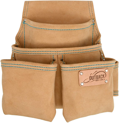 4 Pocket Fastener Pouch | Suede Leather - OX Tools