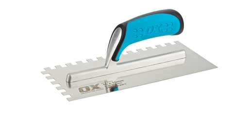 Pro 11-Inch x 4-3/4-Inch Stainless Steel Notch Trowel | 1/2 x 1/2 x 1/2 Square Notch - OX Tools