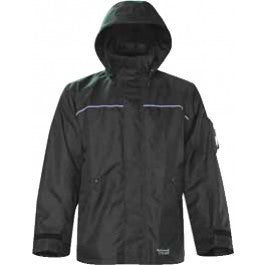 Front view of black jacket, with hoodie