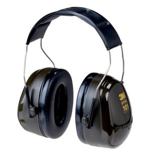 View of over the head earmuffs, black with gold lettering.