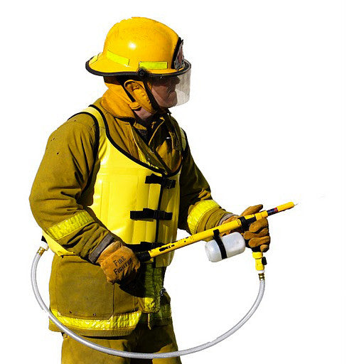 A Firefighter Using A Water Vest With Pump