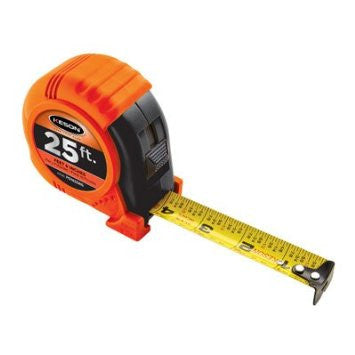 Measuring tape, with case in high visibility orange