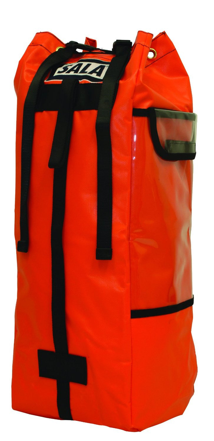 A large orange rope bag.