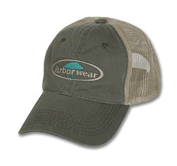 A Green Trucker Cap With The Arborwear Logo
