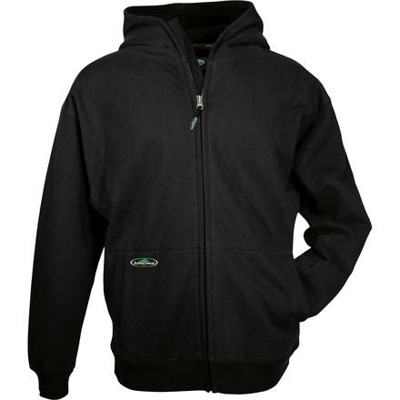 Front View Of Black Double Thick Full Zip Sweather