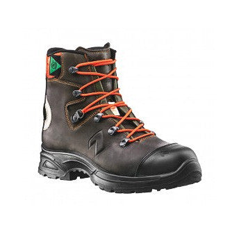 A Brown Hiking Boot With Orange Laces