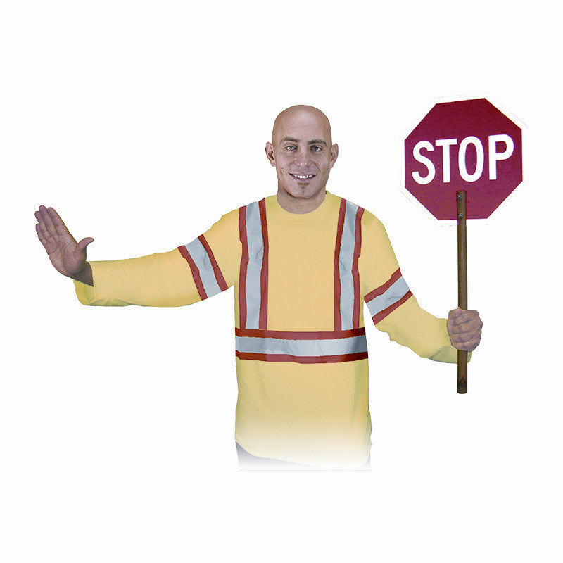 Man Holding A Stop Sign With Orange Safety Long Sleeve