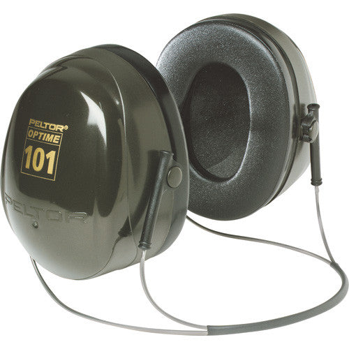 View of behind the neck earmuffs, black with gold lettering.