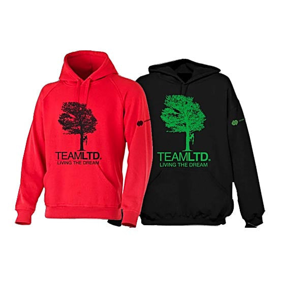 A Black Hoodie With Green Text And Design, And A Red Hoodie With Black Text And Design