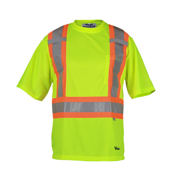 A Green Short Sleeve Safety Shirt