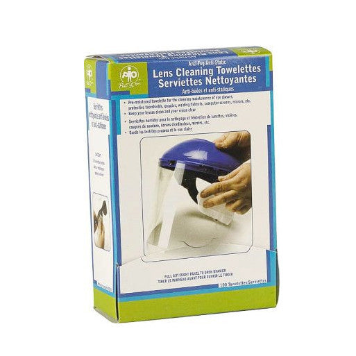 A box of lens cleaning towelettes