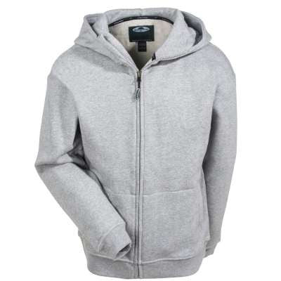 Front View Of Grey Double Thick Full Zip Sweather