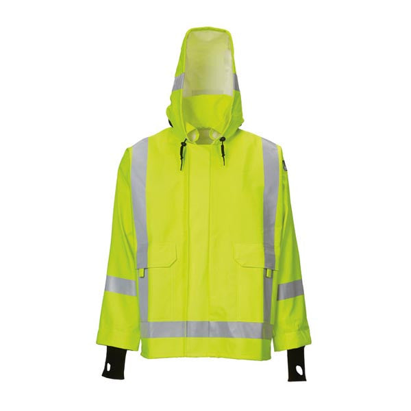 Yellow Rain Jacket With Safety Striping And Hood