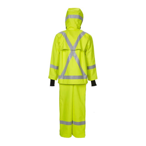 Rear Of Safety Rain Jacket With Pants