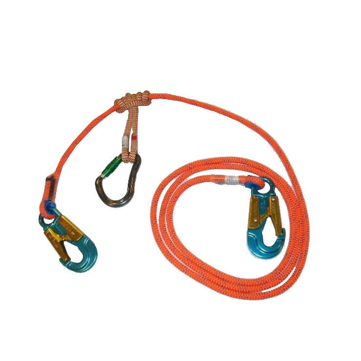 An Orange Lanyard With Blue Carabiners