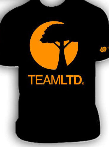 Team LTD Black T-shirt, with Yellow Sun and Tree