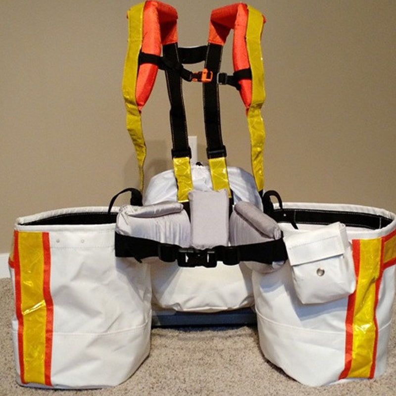 Front of high visibility harness with planting bags