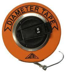 Fibreglass measuring tape. Tape is orange in colour, and has a hook at the end.
