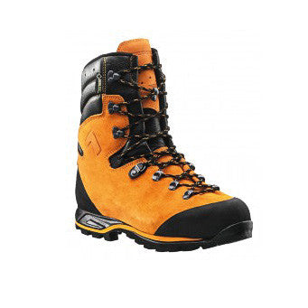 An Orange Safety Boot With Black Laces And Trim