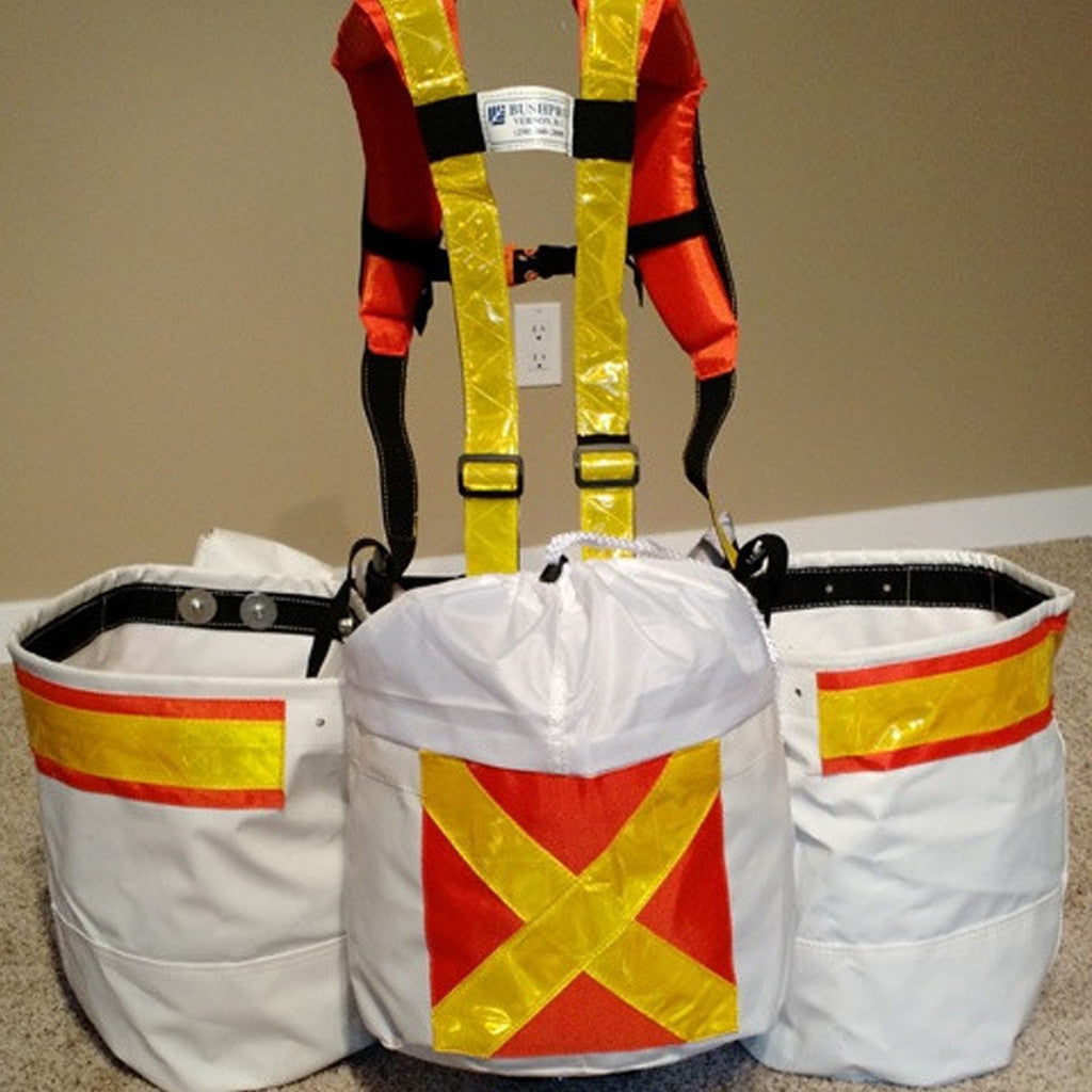 Back of high visibility harness with planting bags