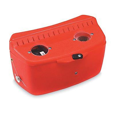 Red hip chain unit, with metric measurements.