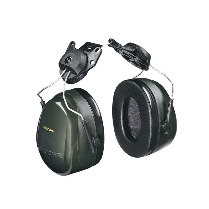 View of helmet style earmuffs, black with gold lettering.