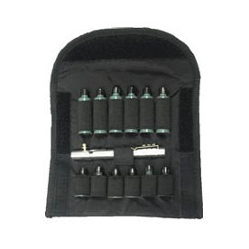 A Black Pouch With Various Cartridges