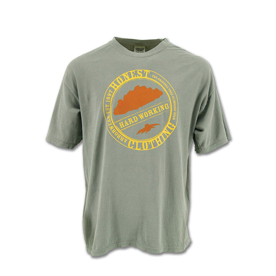 A Grey T-Shirt With Yellow And Orange Graphic