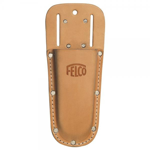 A leather holster, with multiple rivets and the Felco logo embossed on the front.