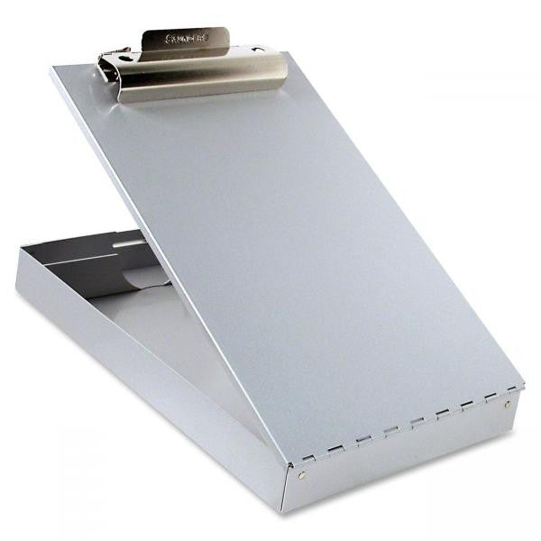 Aluminum clipboard, opened to reveal inner storage compartment.