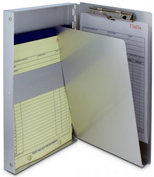 The snapak clipboard, opened to reveal forms and documents