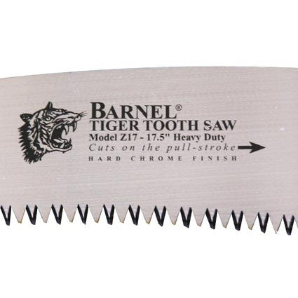 Close Up View OF Barnel Tiger Tooth Saw Blade With Logo And Instructions
