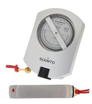 Grey Suunto Clinometer, with red lanyard
