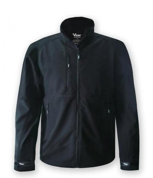 Black viking soft shell jacket, with weatherproof zippers