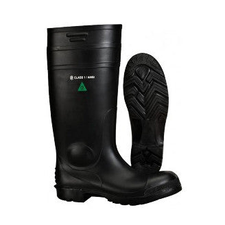 A Black Pvc Work Boot, Shown Both From The Side And From The Bottom.