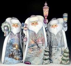 Beautiful new Santas - 3 Russian woodcarvings