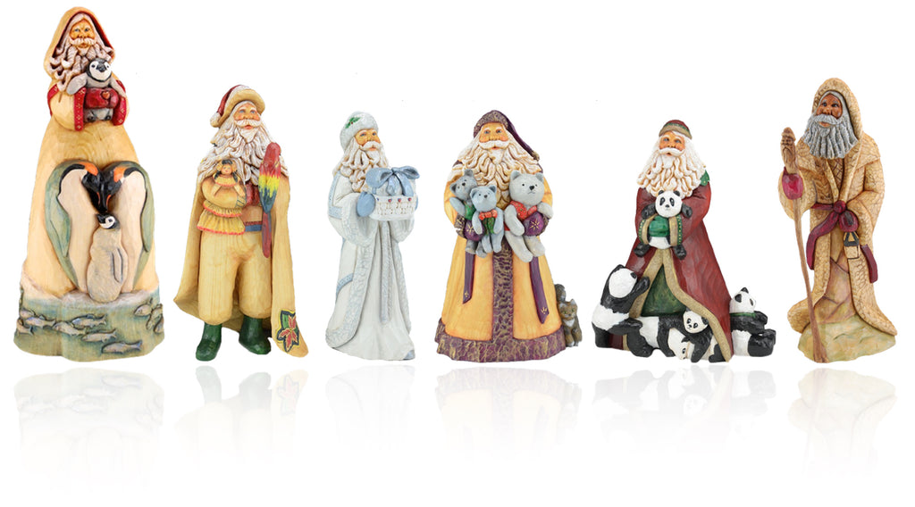 Barbara Scoles Hand carved wooden Santa figures