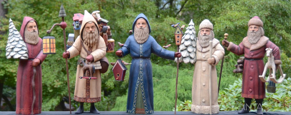 Ed Pribyl hand carved wooden Santa Claus figures