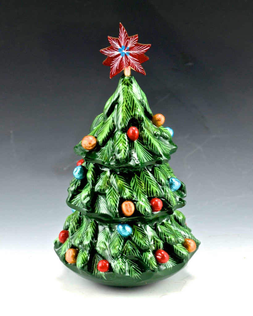 Roly Poly Wood Christmas Tree Bell 5 Inch