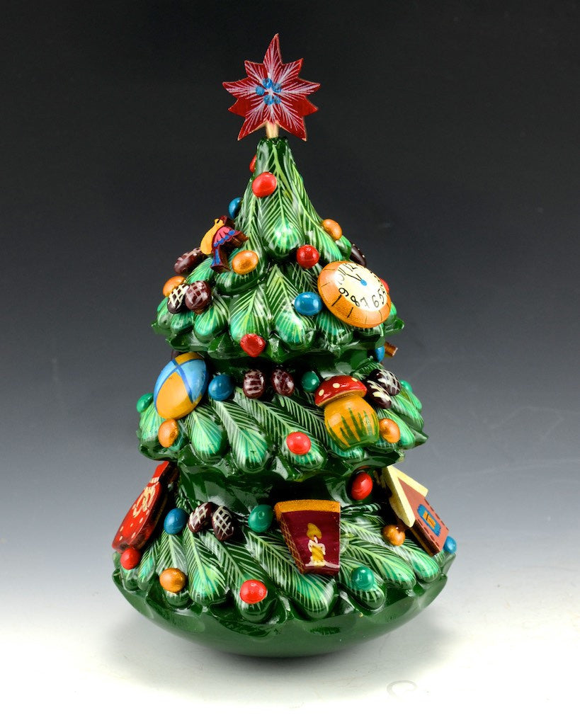 Russian Roly Poly Detailed Wood Christmas Tree Bell 6 5 Inch Santas Com