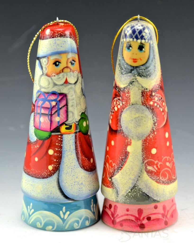 Mr and mrs claus ornaments - Mr And Mrs Claus Solid Wood Ornaments