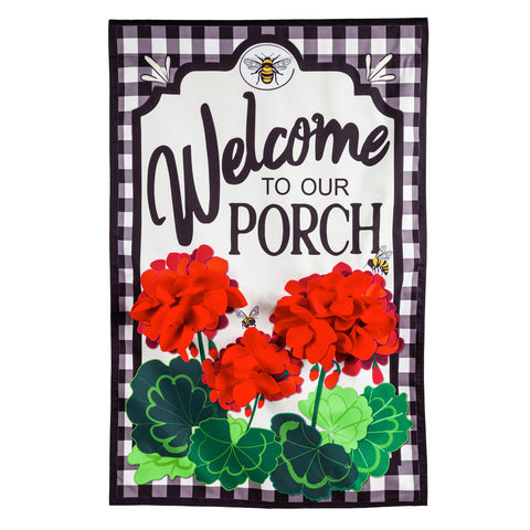 Welcome to Our Porch Geraniums House Linen Flag